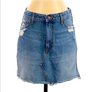 {Abercrombie & Fitch} destroyed denim mini skirt 4